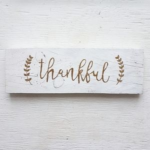 """""""Thankful"""" Hand painted wooden sign"""